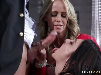 Mommy Simone and Chase are two filthy whore that need a hard cock, hard as Johnny's. These bitches play hard to get but as soon as Johnny takes o