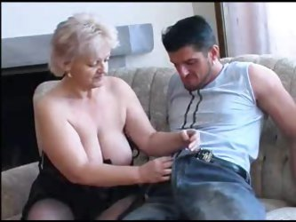 Chubby granny in black stockings nailed