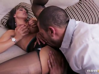Esperanza Gomez and her colleague Carlo  spend great time together. The man is obsessed with her big boobs and her pretty tight pussy. He eats it with