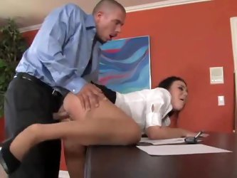 Secretary Ashley Blue fucked in the office
