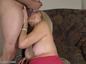 Mature blonde woman, Erica Lauren likes to hook up with younger guys just to fuck them