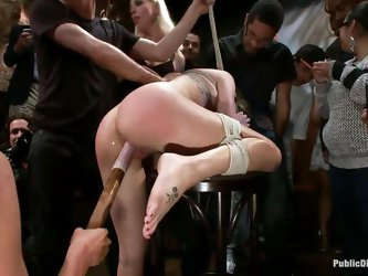 Lia Lor is a hot blonde milf craving for public punishment. She is enjoying being hogtied with ropes. James Deen and his female friend Lorelei Lee are