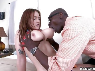 This dirty whore Siri gets her floppy tits sucked by her big, strong black boyfriend. He sticks his face in between her ass cheeks and licks her pink