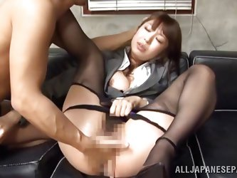 our Japanese couple are enjoying some dirty work in their leisure time. This horny chick is smiling and eagerly putting her man's pants off and r