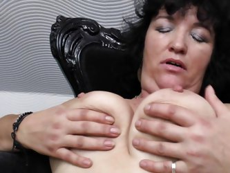 brunette mature slut in stockings is making some dirty work here. She is totally undressed and showing her huge boobs and fragile body. She is so horn