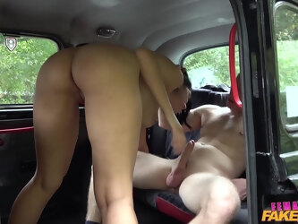 Female taxi driver Kira Queen enjoys having a stiff dick in her