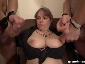 Chubby amateur slut licks ass of two men and gets covered with cum