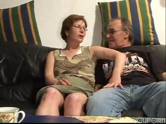 Old couple doing a hot hard and a unique style of face fucking.