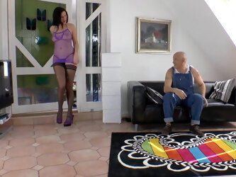LARA LATEX in stockings and heels gets fucked on sofa