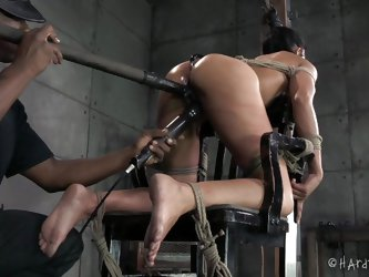 Today miss Beretta learns how to properly sit on a chair. This filthy whore needs some manners and Jack will take care personally of this. He tied her