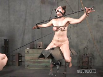 Miss Dee inflicts the cruelest pain on her sex slave. The slave is tied has her tits wrapped so they nearly burst. Circulation is cut off and the godd