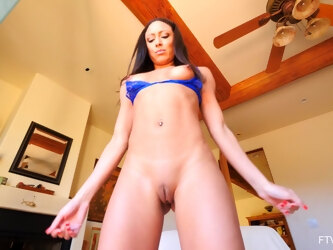 Solo model Cassie spreads her legs to sit on the large dildo