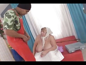 Blonde grandma Sara is a chubby old whore that drools for big black cocks. Franco sees what a slut she is so he undresses the granny and plays with he