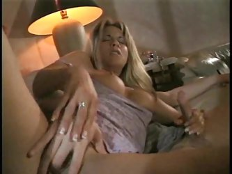 Blonde wife gives a great handjob and jizzed