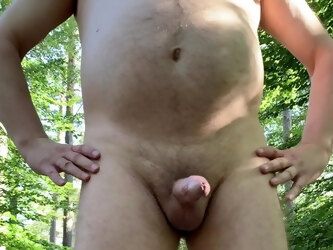 mature exhibitionist - naked in the forest
