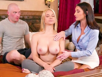 Bald dude works magic on these chicks's shaved pussies