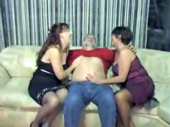 Old man fucking his wife and her sister