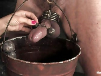 This guy is tied up and he gets a ball gag in his mouth so he can't yell for help. His mistress puts weights on his cock and he has to balance a