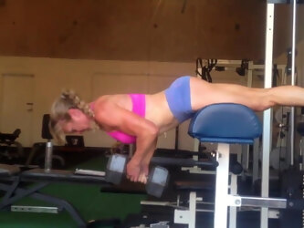Mature gym-freak with great arse in my gym-house