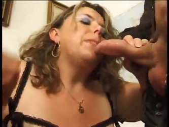 Fat woman for two cocks