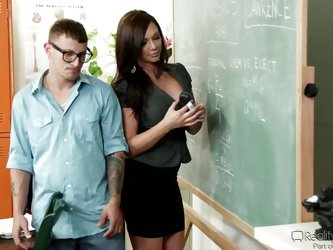 When it's about physics she's a mean and strict teacher but when it's about fucking, this busty milf is an angel! She gives this dork s
