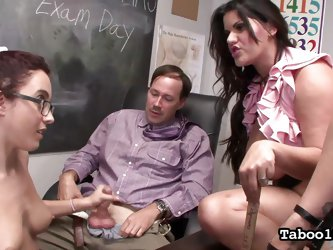 The geography teacher in for some fun today, as one of his young students and his sexy coworker team up, to get him off. The sexy young student sucks
