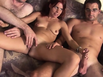 Hot MILF enjoys pissing and fucking in threesome