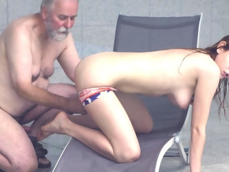 This dirty old grandfather is in the middle of some perverted fun with the young cooze. He offered her his cock for licking and sucking and the chick