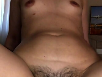 Very hairy mom rides my cock