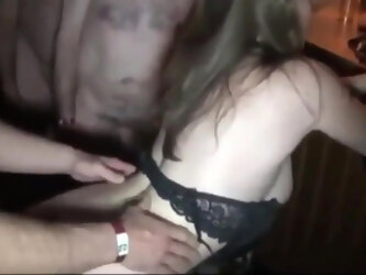 Boyfriend shares his busty gf with strangers in night club